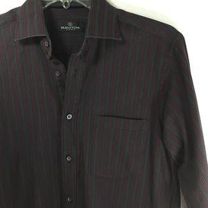 Bugatchi Gray maroon lg sleeve button down shirt M